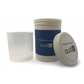 Cleaning cup with basket for hearing aids of the brand Audilo
