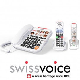 Swissoice Xtra 3155 White corded telephone + 2 additional DECT handsets with photo memory