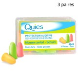 Bouchons d'Oreille en Mousse Quies, 3 paires, Multicolore