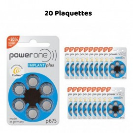 Hearing aid batteries PowerOne 675 Implant Plus, 20 Wafers
