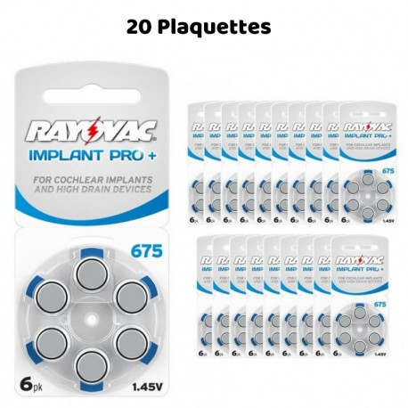 Piles Auditives Rayovac 675 Implant Pro+, 20 Plaquettes