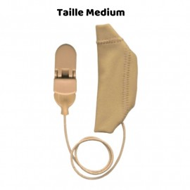 Mono Hearing Aid Cover Size M with Drawstring, Beige