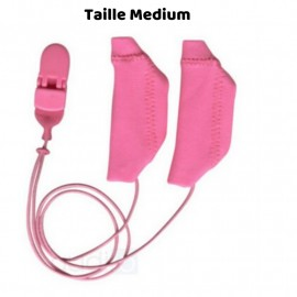 Hearing Aid Protector Duo Case Size M with Drawstring, Pink