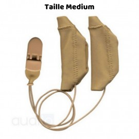 Hearing Aid Protector Duo Case Size M with Drawstring, Beige