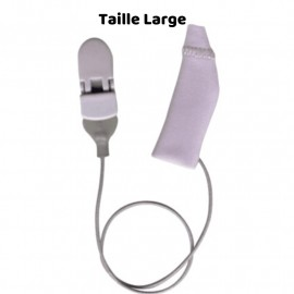 Mono Protective Cover EarGear for Hearing Aids Size LARGE with Cord,Grey