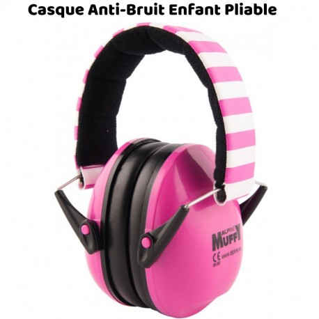 Casque Antibruit Enfant Muffy (PLIABLE) Alpine, Rose et Blanc