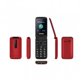 Clamshell mobile phone with Facebook and Whatsapp - TELEFUNKEN TM 360 COSI- Red