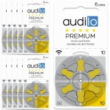 60 Hearing aid batteries Audilo size 10 (pack of 10)